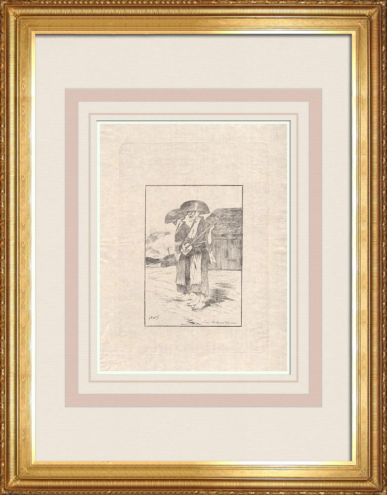 Stare Grafiki & Rysunki | Dwóch śpiewaków Ulicznych (Japonia) | Akwaforta | 1886