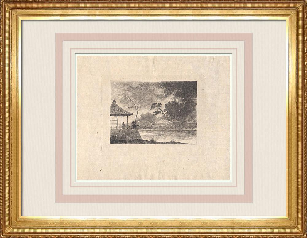 Grabados & Dibujos Antiguos | Vista de un estanque en un paisaje rural (Japón) | Grabado al aguafuerte | 1886