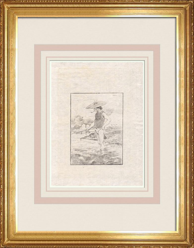 Stare Grafiki & Rysunki | Sprzedawca ryb (Japonia) | Akwaforta | 1886