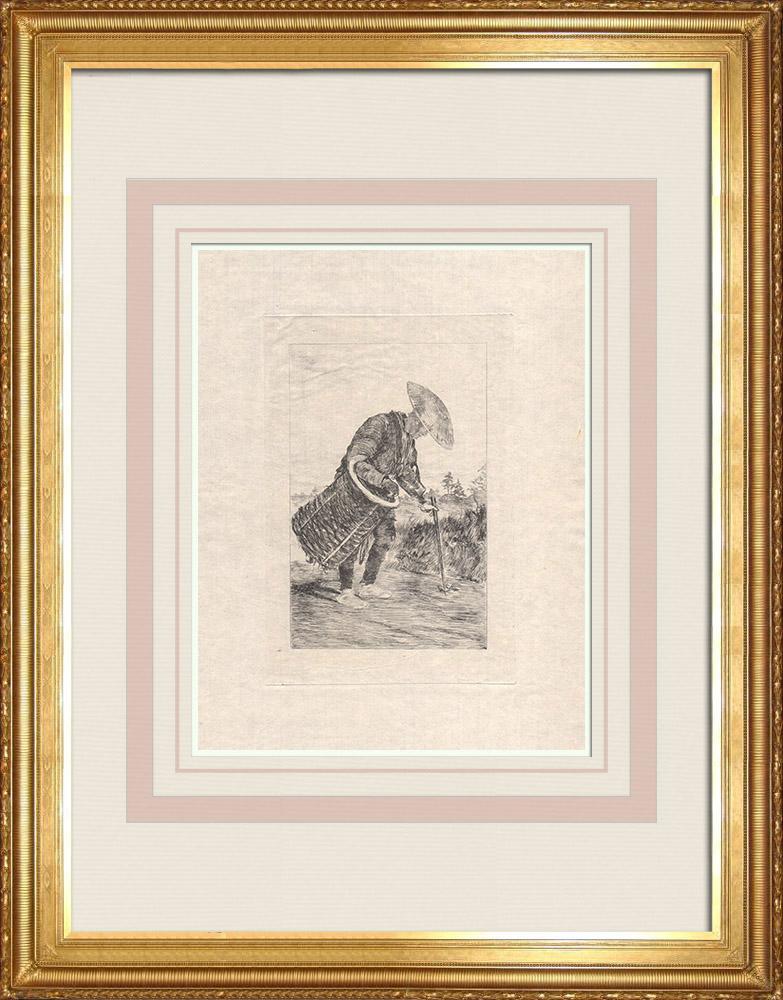 Oude Prenten & Tekeningen | Een Man, met een Mand, Maakt een pad Schoon (Japan) | Ets | 1886