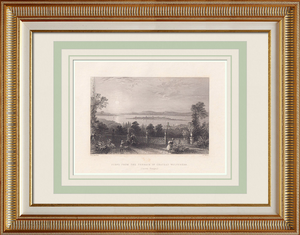 Antique Prints & Drawings | View taken from Wolfsberg Castle - Thurgau (Switzerland) | Intaglio print | 1836