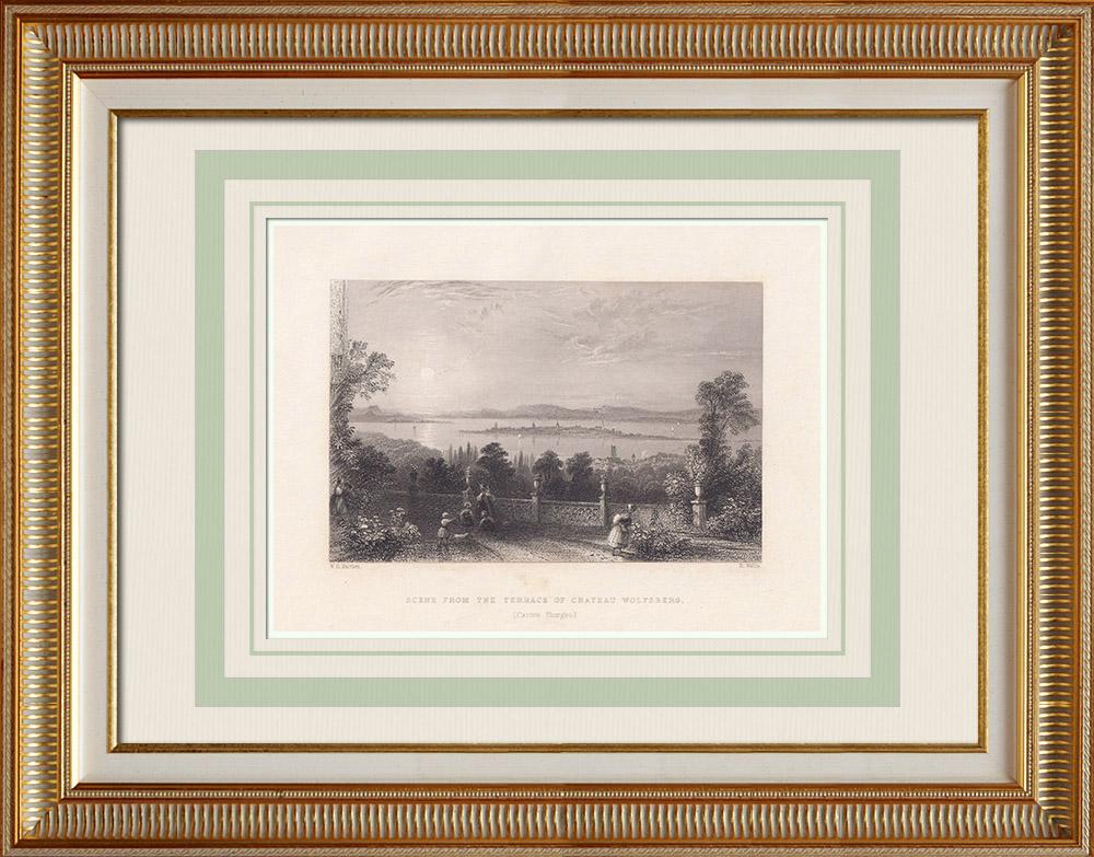 Antique Print & Etching | Ansicht vom Schloss Wolfsberg - Thurgau (Schweiz) | Stahlstich | 1836