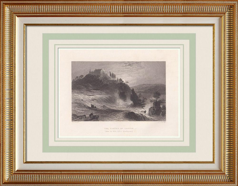 Antika Tryck & Ritningar | Laufen slott nära Rhenfallen - Schaffhausen (Schweiz) | Stålstick | 1836
