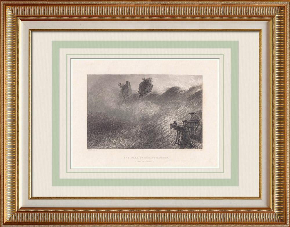 Gravures Anciennes & Dessins | Chute du Rhin - Vue de Schaffhausen - Schaffhouse (Suisse) | Taille-douce | 1836