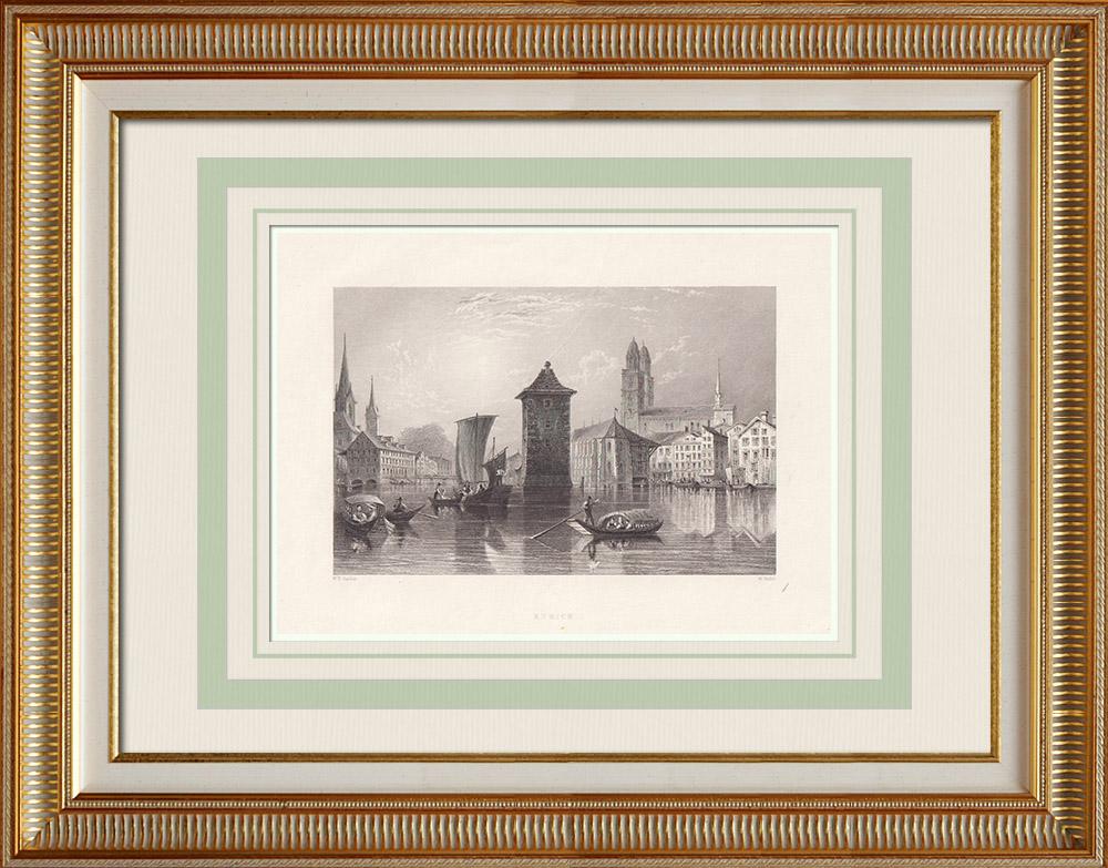 Stampe Antiche & Disegni | Veduta di Zurigo - Limmat - Lago di Zurigo (Svizzera) | Stampa calcografica | 1836