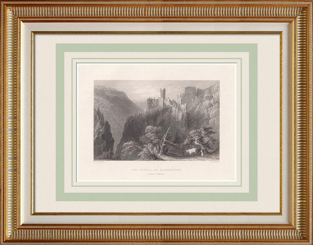 Antika Tryck & Ritningar | Slott av Falkenstein - Mosel (Frankrike) | Stålstick | 1836