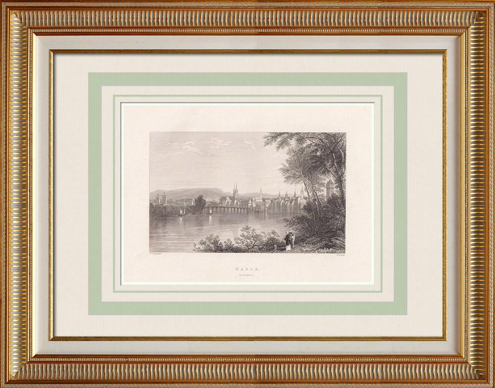 Antique Prints & Drawings | View of Basel - Bridge over the Rhine (Switzerland)  | Intaglio print | 1836