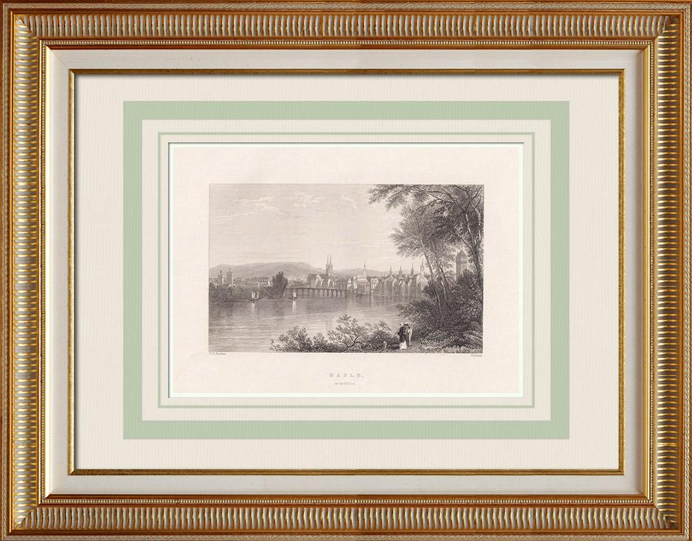 Antika Tryck & Ritningar | Vy över Basel - Bro över Rhen (Schweiz)  | Stålstick | 1836