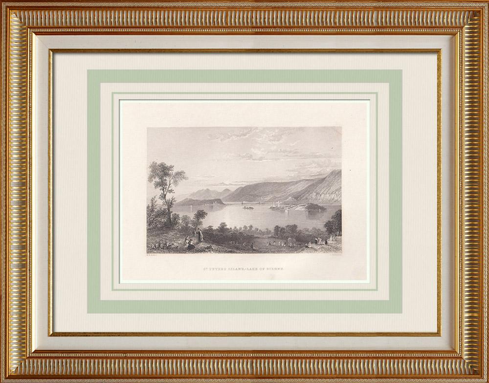 Stare Grafiki & Rysunki | Jezioro Biel - ul. Wyspa Piotra - Kanton Berneński (Szwajcaria) | Staloryt | 1836