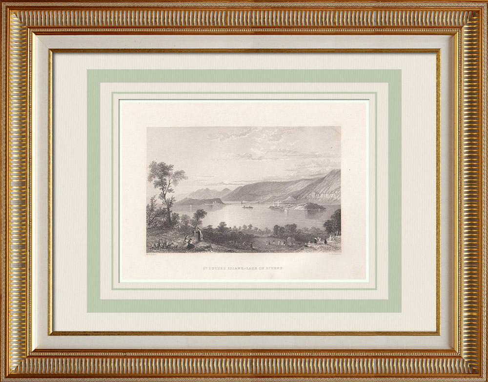 Antika Tryck & Ritningar   Bielsjön - Sankt Petersinsel - Kanton Bern (Schweiz)   Stålstick   1836