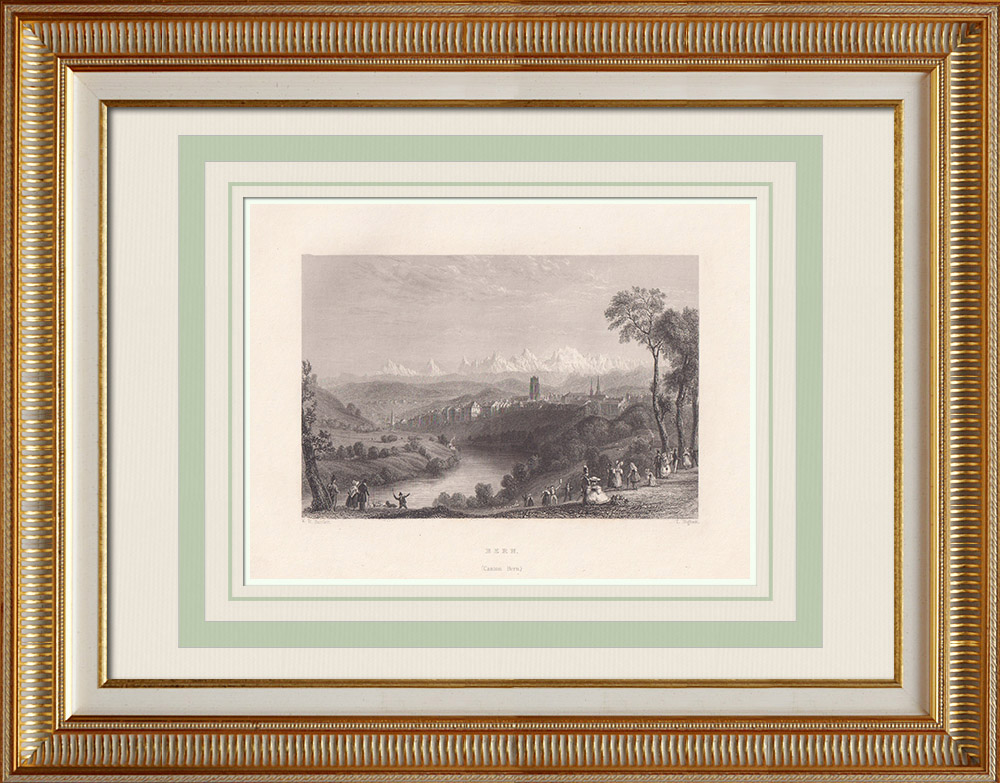 Antique Prints & Drawings | View of Berne - Aar - Canton of Berne (Switzerland) | Intaglio print | 1836