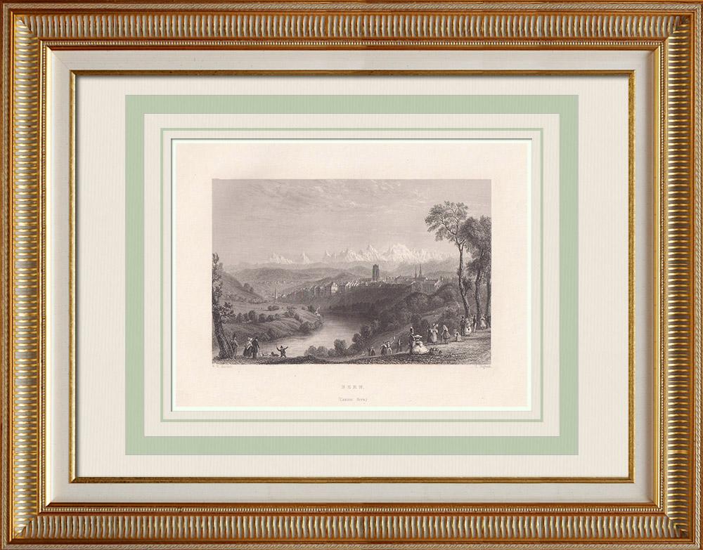 Antika Tryck & Ritningar   Vy över Bern - Aar - Kanton Bern (Schweiz)   Stålstick   1836