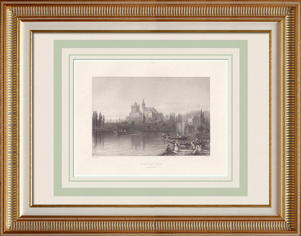 Stare Grafiki & Rysunki | Widok Thun - Jezioro - Kanton Berneński (Szwajcaria) | Staloryt | 1836