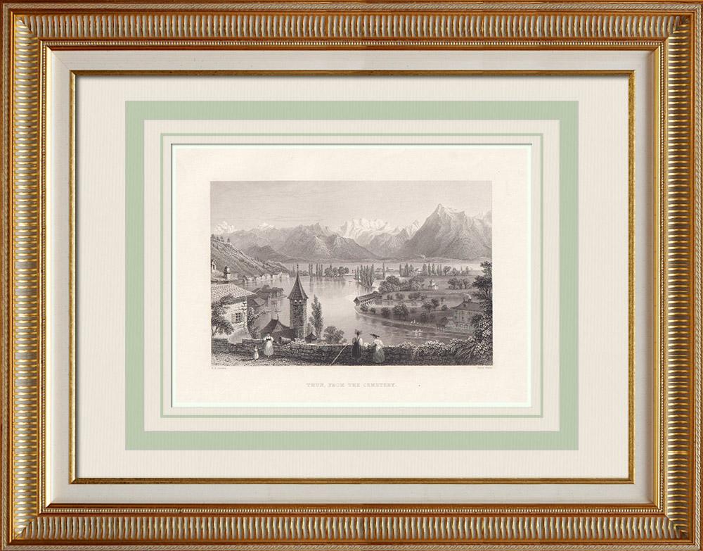 Stampe Antiche & Disegni | Veduta di Thun - Lago - Canton Berna (Svizzera) | Stampa calcografica | 1836