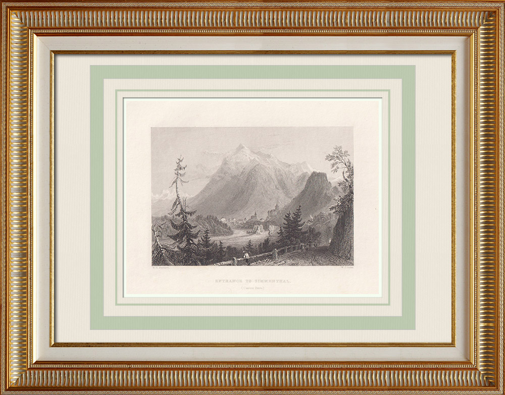 Antique Prints & Drawings | View of Simmental - Canton of Berne (Switzerland) | Intaglio print | 1836