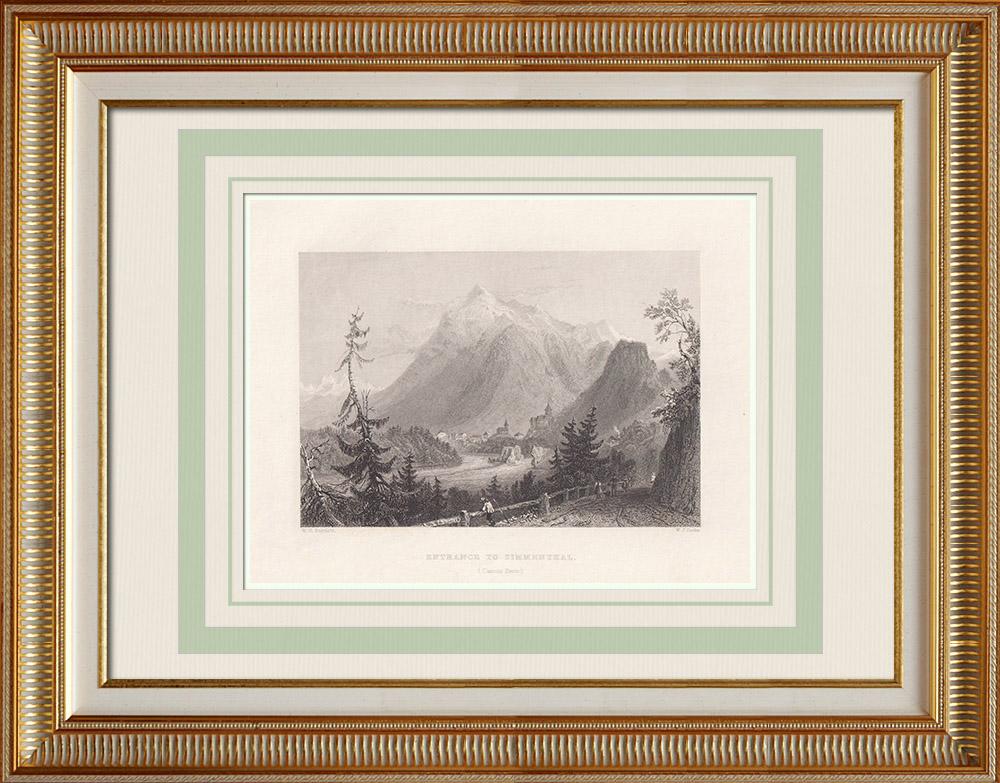 Antique Print & Etching | Ansicht von Simmental - Kanton Bern (Schweiz) | Stahlstich | 1836