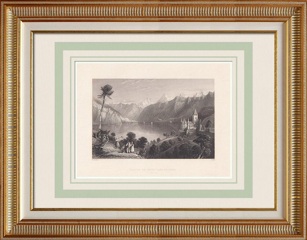 Grabados & Dibujos Antiguos | Castillo de Spiez - Lago de Thun - Cantón de Berna (Suiza) | Grabado en talla dulce | 1836