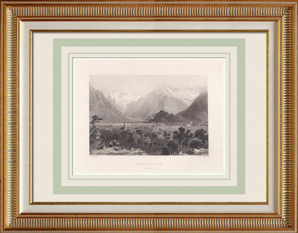 Antika Tryck & Ritningar | Vy över Interlaken - Kanton Bern (Schweiz) | Stålstick | 1836
