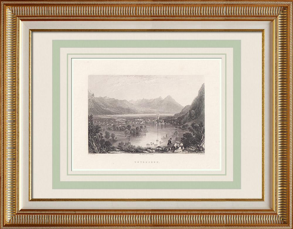 Stare Grafiki & Rysunki | Jezioro Constance - Untersee (Szwajcaria - Niemcy) | Staloryt | 1836