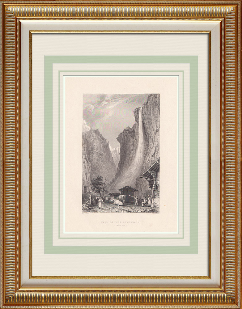 Gravures Anciennes & Dessins | Chute d'Eau de Staubbach - Canton de Berne (Suisse) | Taille-douce | 1836