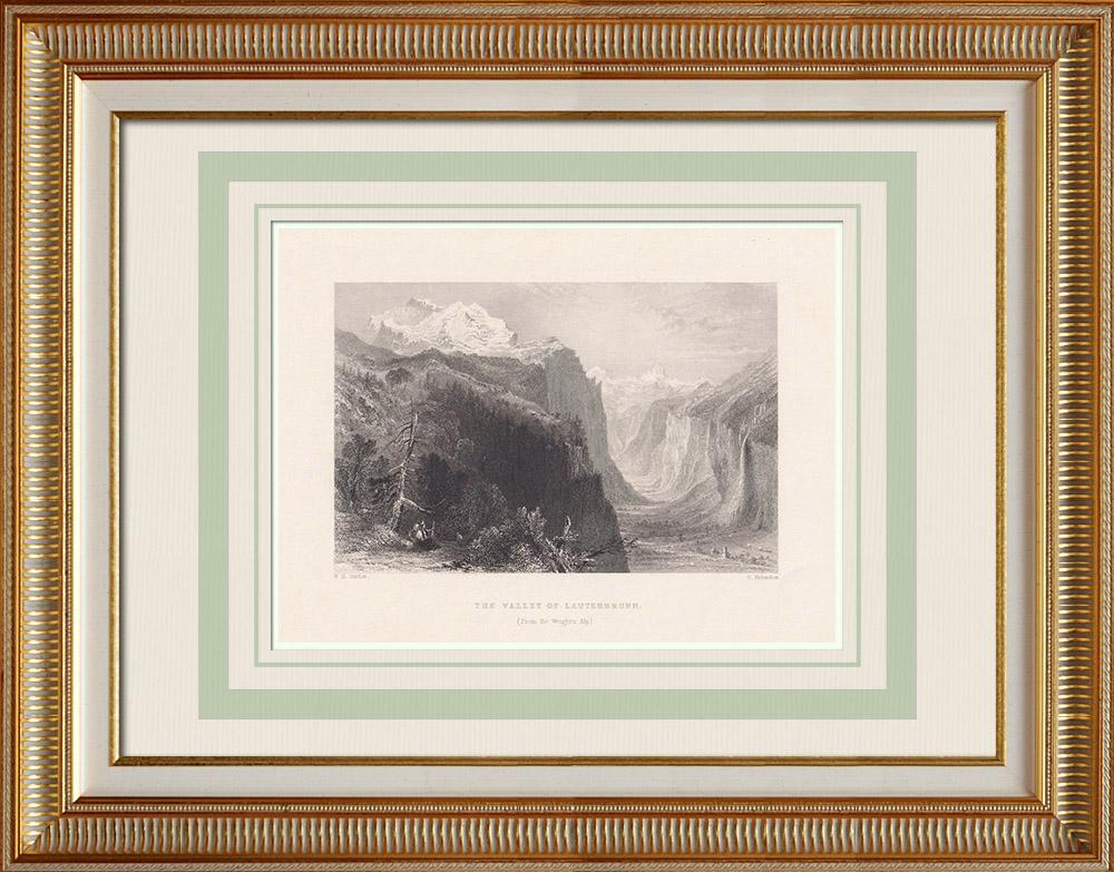 Antika Tryck & Ritningar | Lauterbrunnen Valley sett från Wengen - Kanton Bern (Schweiz) | Stålstick | 1836