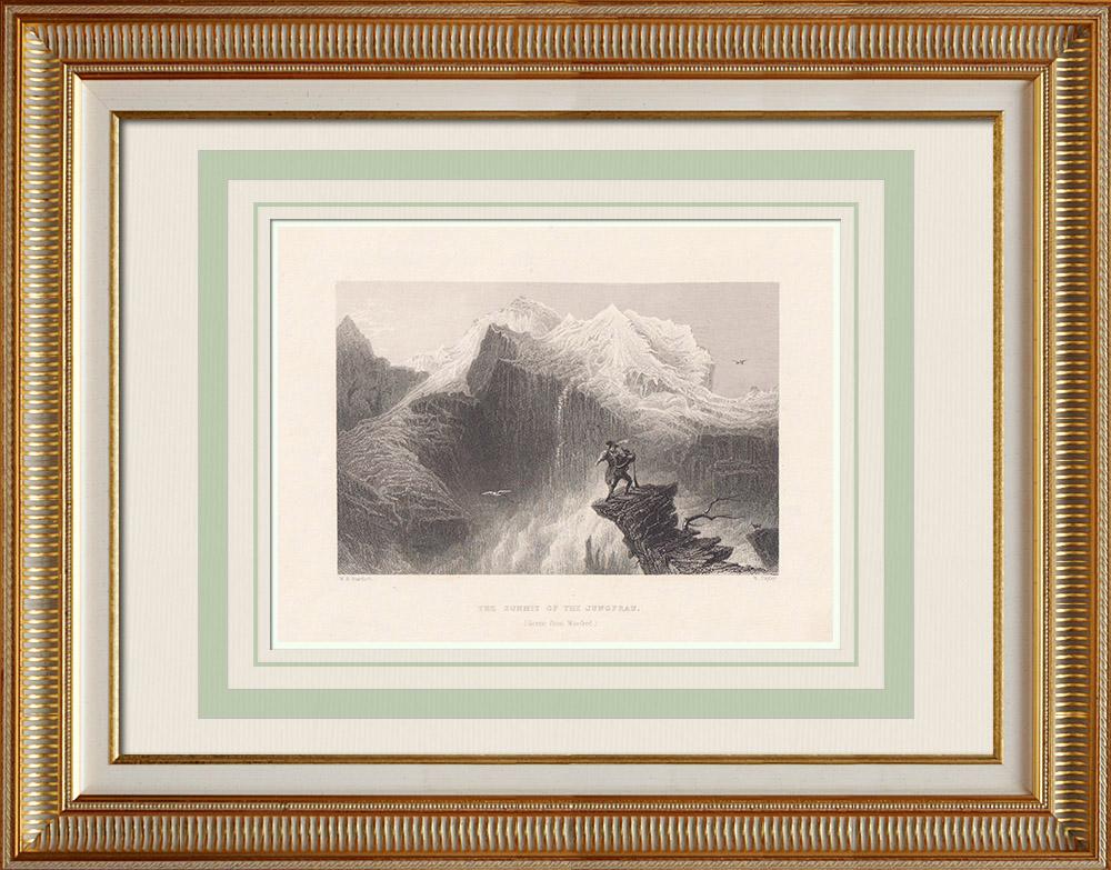 Stare Grafiki & Rysunki | Jungfrau - Kanton Berne (Szwajcaria) | Staloryt | 1836