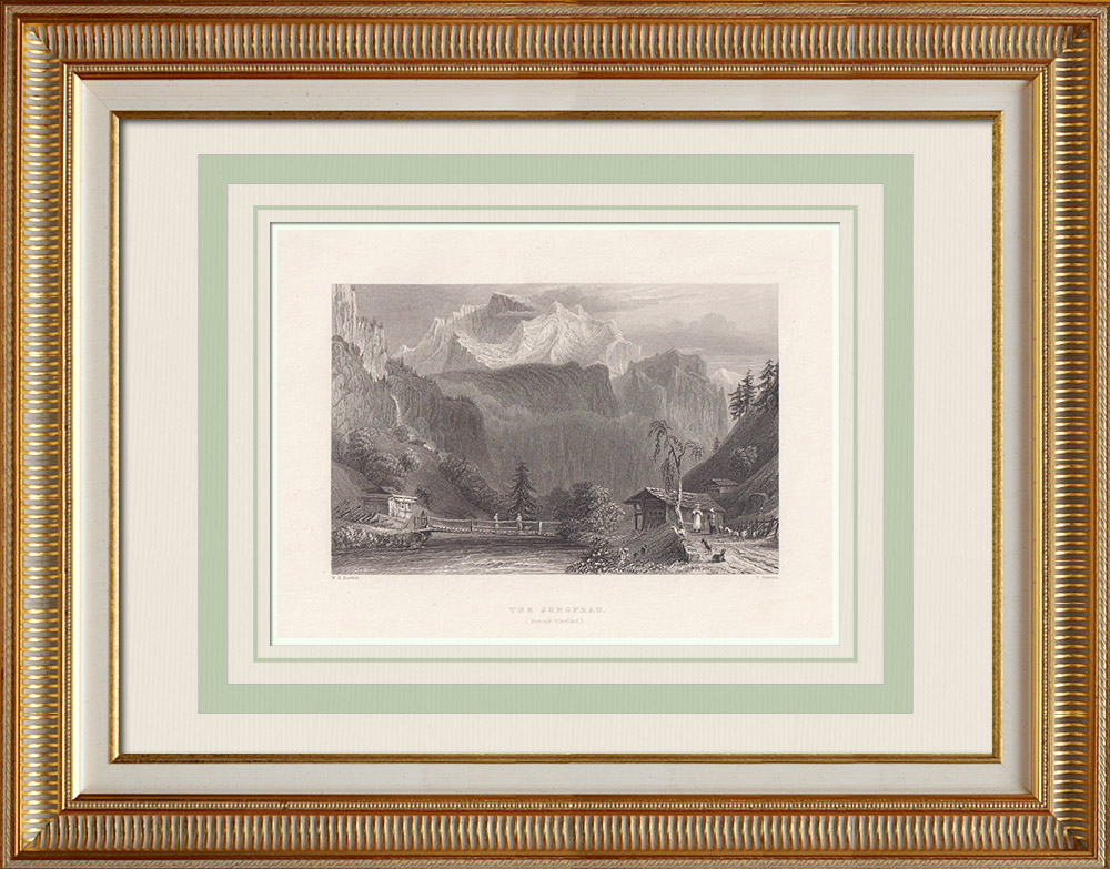 Antique Prints & Drawings | The Jungfrau - Bernese Alps - Canton of Berne (Switzerland) | Intaglio print | 1836