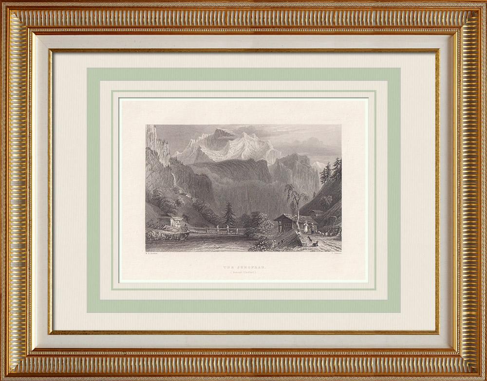 Antique Print & Etching | Jungfrau - Berner Alpen - Kanton Bern (Schweiz) | Stahlstich | 1836