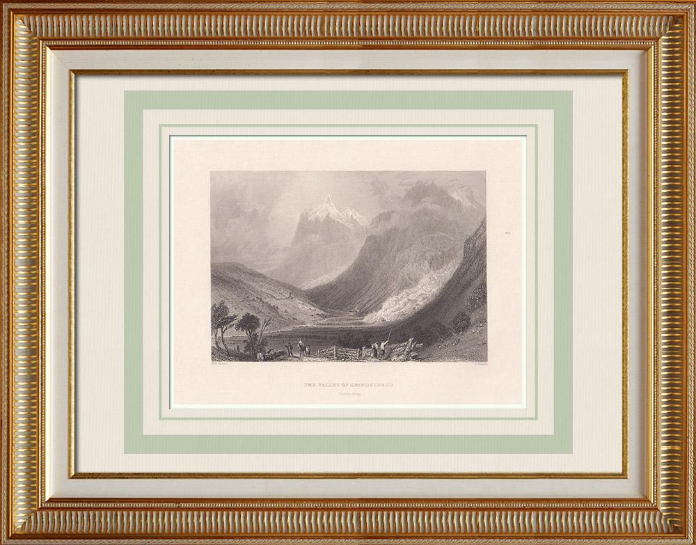 Grabados & Dibujos Antiguos | Valle del Grindelwald - Cantón de Berna - Interlaken - Alpes Berneses (Suiza) | Grabado en talla dulce | 1836