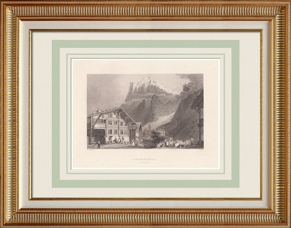 Stare Grafiki & Rysunki | Widok Grindelwald - Kanton Berneński - Wetterhorn (Szwajcaria) | Staloryt | 1836