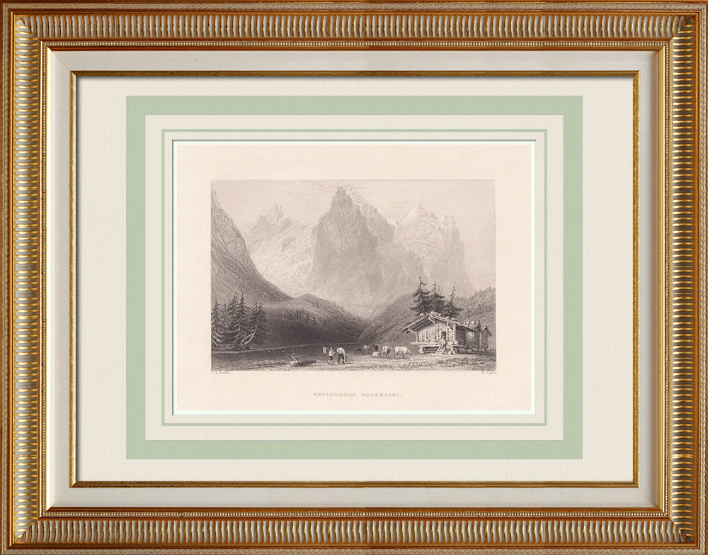 Stare Grafiki & Rysunki | Wetterhorn - Rosenlauigletscher - Kanton Berneński (Szwajcaria) | Staloryt | 1836
