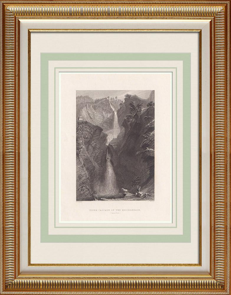Antique Print & Etching | Reichenbachfall - Aar - Kanton Bern (Schweiz) | Stahlstich | 1836