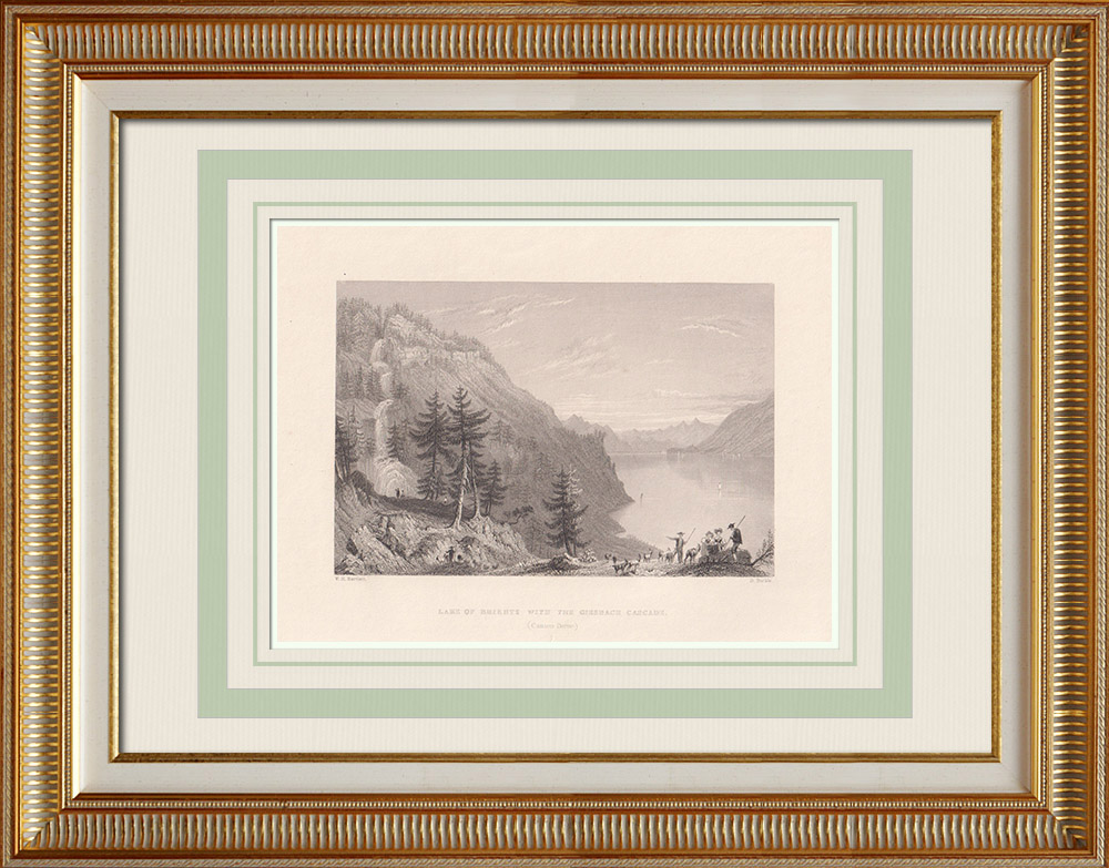 Antique Prints & Drawings | Brienz lake - Waterfall of Giessbach - Canton of Berne (Switzerland) | Intaglio print | 1836