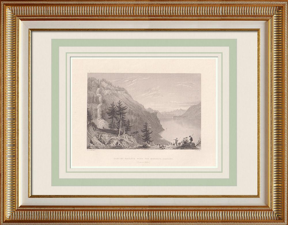 Antique Print & Etching | Brienzersee - Wasserfall von Giessbach - Kanton Bern (Schweiz)  | Stahlstich | 1836