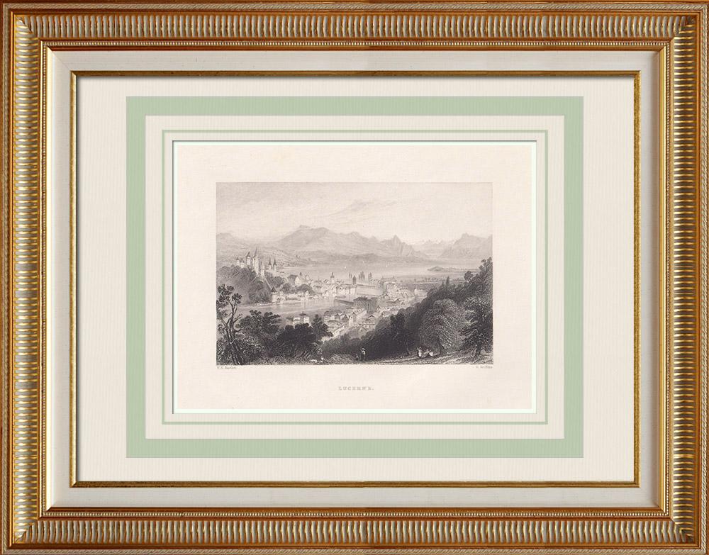 Oude Prenten & Tekeningen | Gezicht op Luzerne - Kanton Luzern (Zwitserland) | Staalgravure | 1836