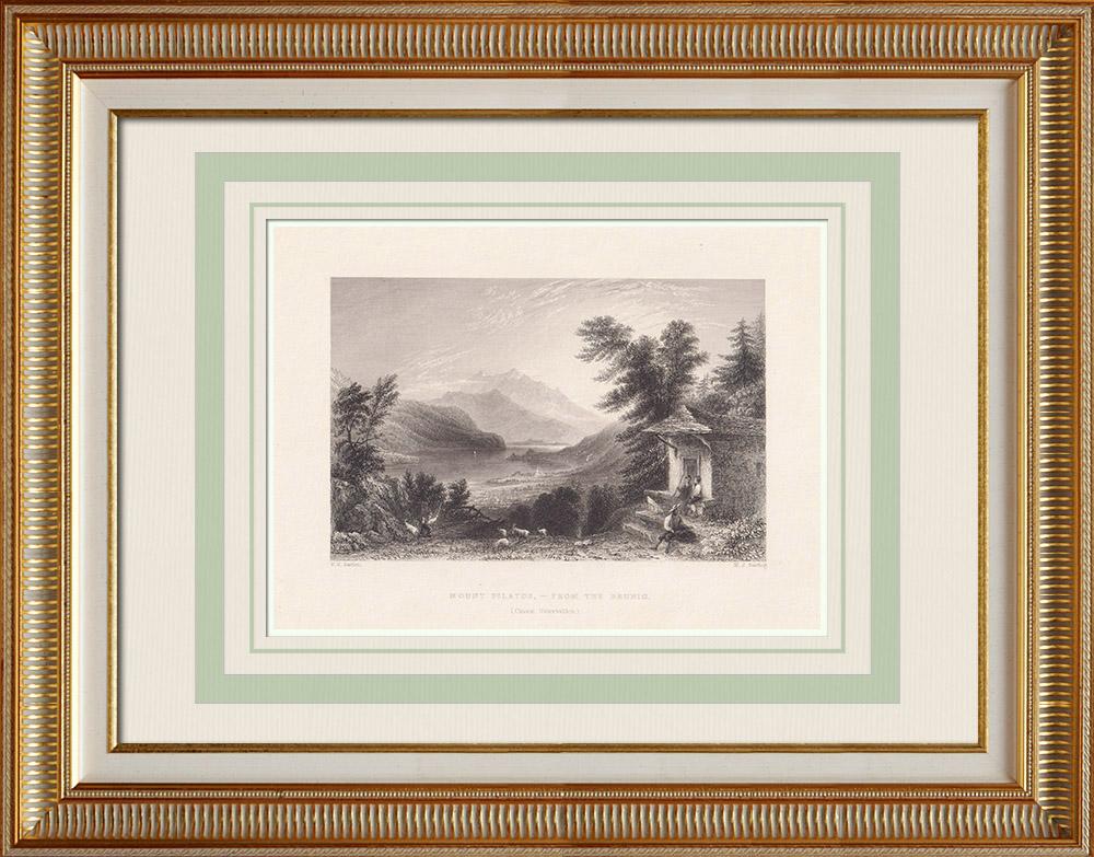 Oude Prenten & Tekeningen | Gezicht op Pilatus - Meer Luzern (Zwitserland) | Staalgravure | 1836