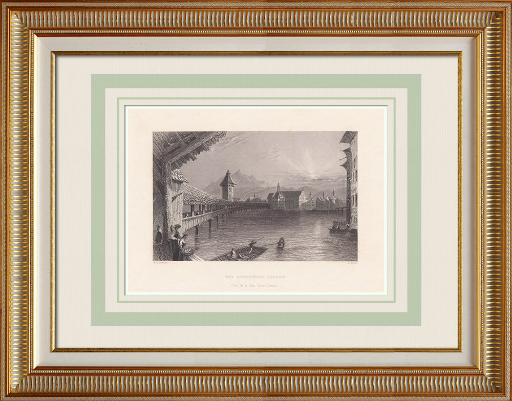 Antique Prints & Drawings | View of Lucerne - Hofbrücke - Canton of Lucerne (Switzerland) | Intaglio print | 1836