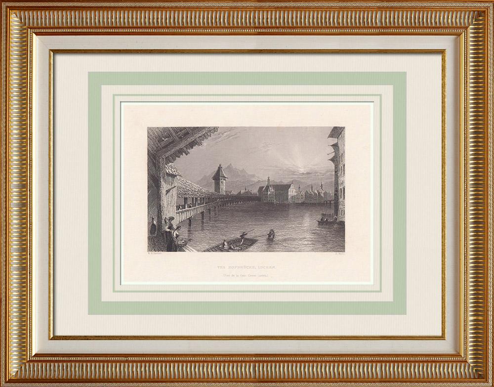 Antique Print & Etching   Ansicht von Luzern - Hofbrücke - Kanton Luzern (Schweiz)   Stahlstich   1836