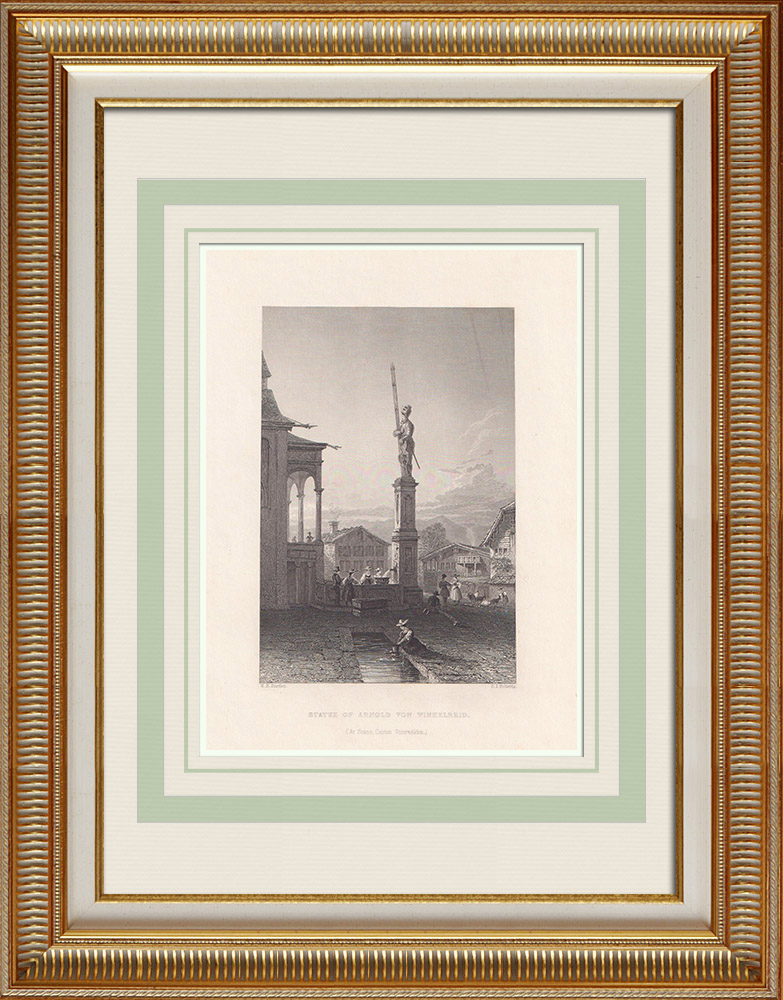 Antique Prints & Drawings | Statue of Arnold von Winkelried (Switzerland) | Intaglio print | 1836