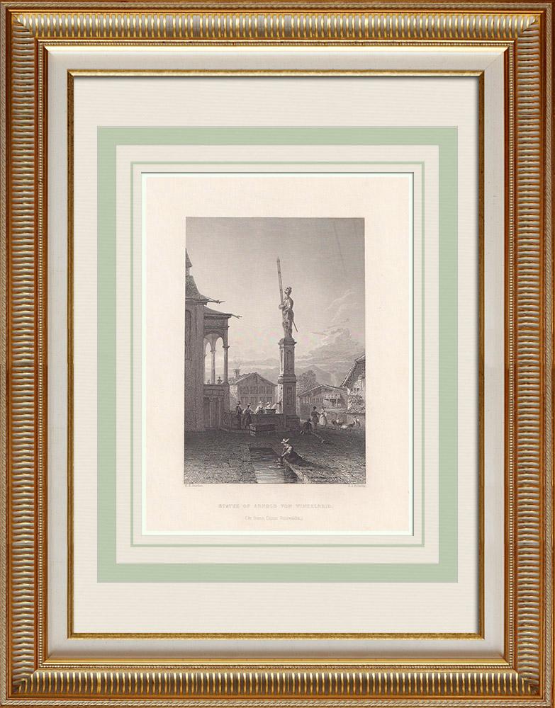 Grabados & Dibujos Antiguos | Estatua de Arnold von Winkelried (Suiza) | Grabado en talla dulce | 1836