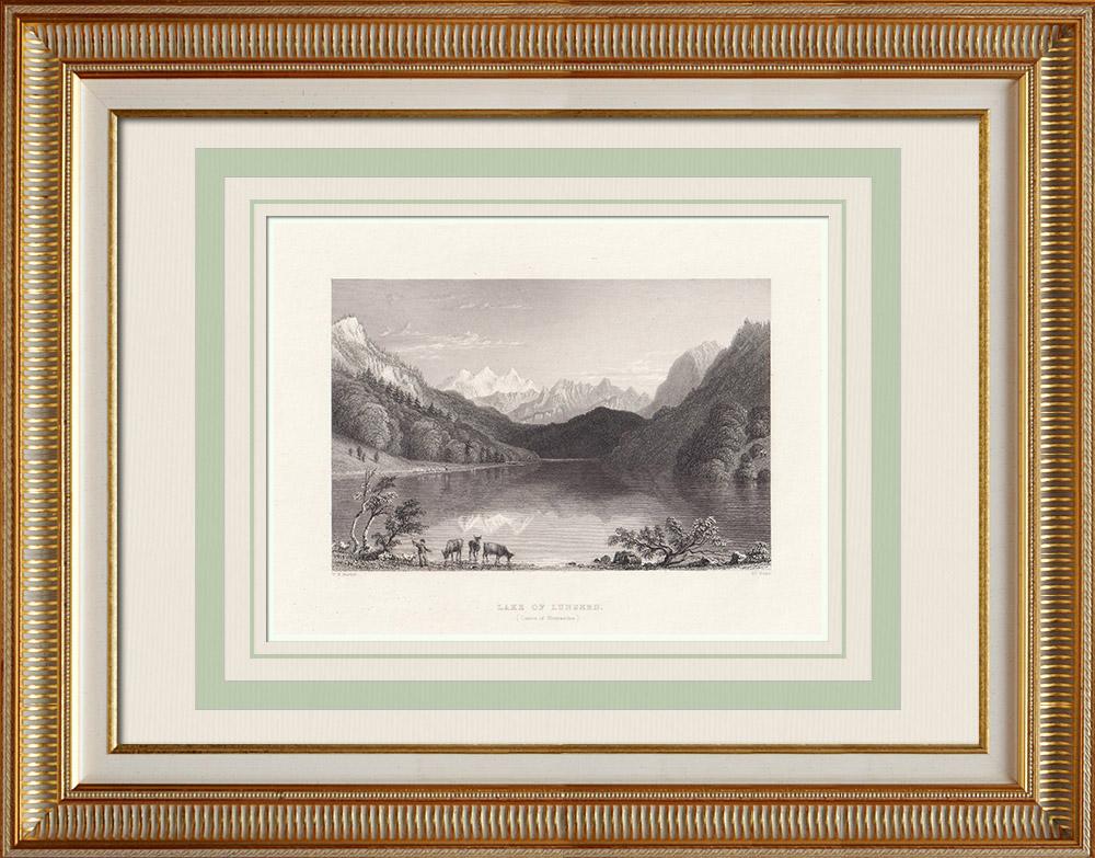 Gravures Anciennes & Dessins | Vue du Lac de Lungern - Loungern - Canton d'Obwald (Suisse) | Taille-douce | 1836