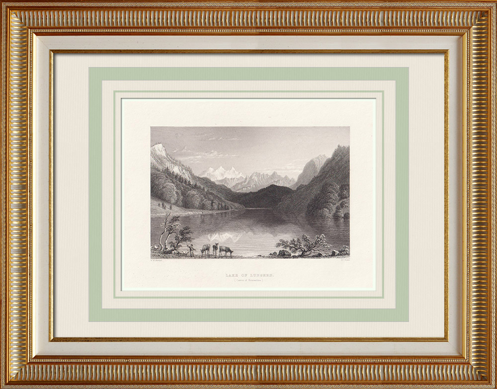Antika Tryck & Ritningar | Vy över Lungernsjön - Kanton Obwalde (Schweiz) | Stålstick | 1836
