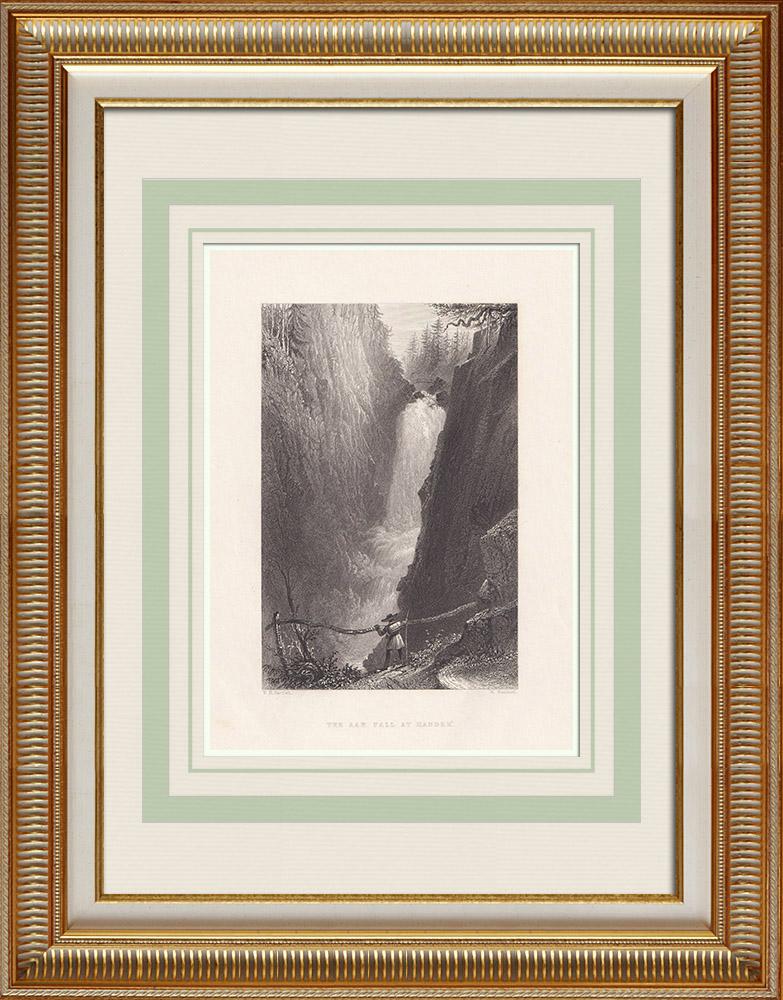 Stare Grafiki & Rysunki | Aar Fall at Handegg - Kanton Berne (Szwajcaria) | Staloryt | 1836
