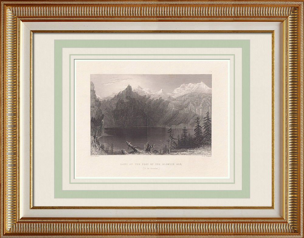 Antique Prints & Drawings | View of Blüemlisalp - Lake - Canton of Berne - Bernese Alps (Switzerland) | Intaglio print | 1836