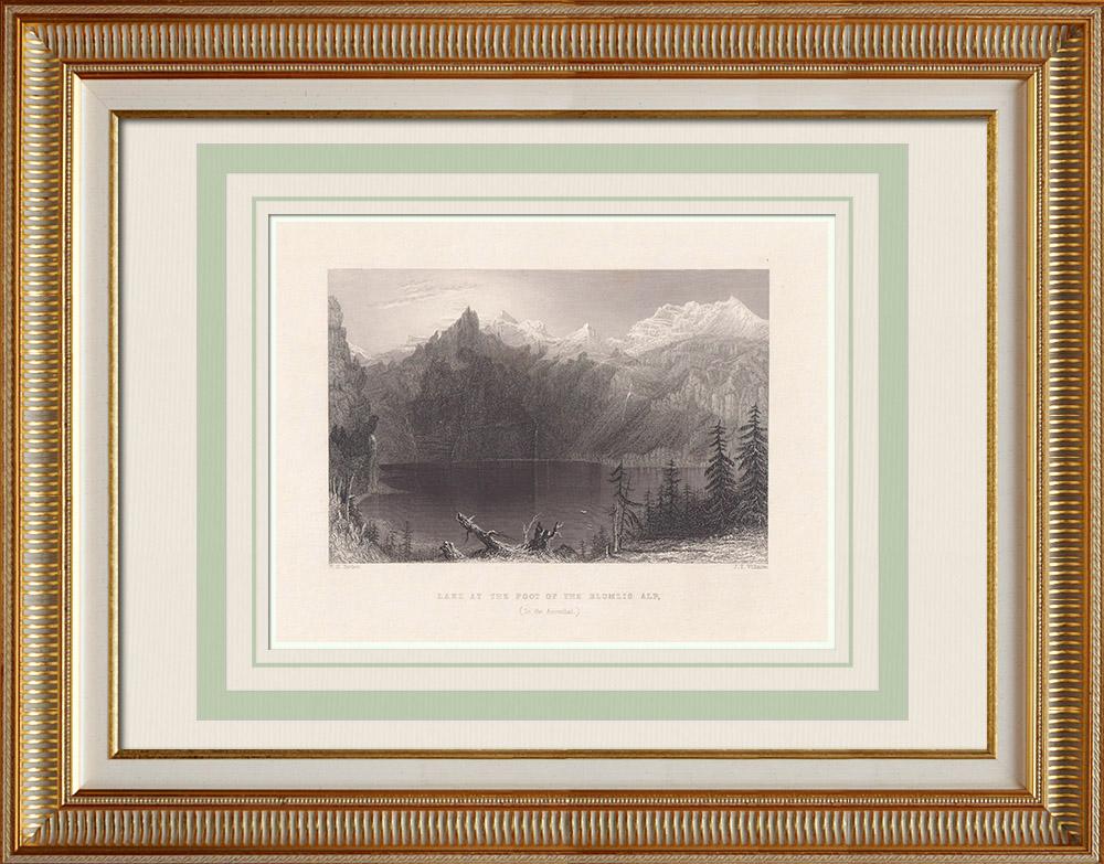 Antique Print & Etching | Ansicht von Blüemlisalp - See - Kanton Bern - Berner Alpen (Schweiz) | Stahlstich | 1836