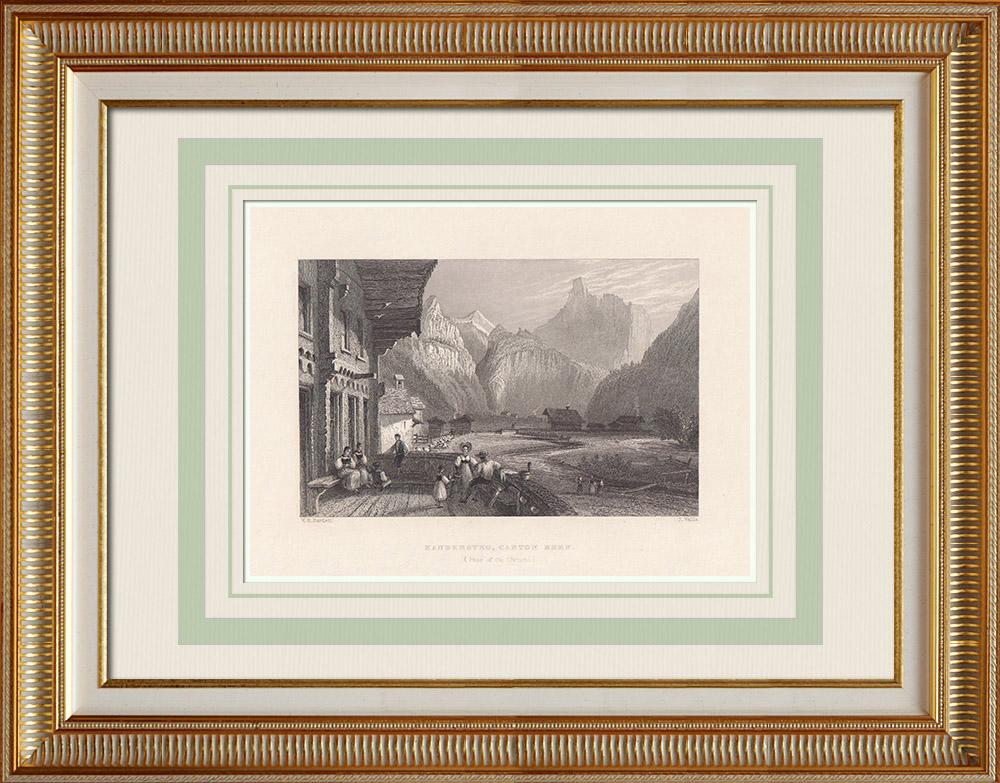 Grabados & Dibujos Antiguos | Vista de Kandersteg - Blüemlisalp - Cantón de Berna - Alpes Berneses (Suiza) | Grabado en talla dulce | 1836