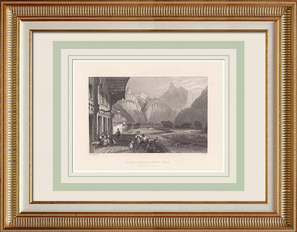 Oude Prenten & Tekeningen | Gezicht op Kandersteg - Blüemlisalp - Kanton Berne - Berner Alpen (Zwitserland) | Staalgravure | 1836