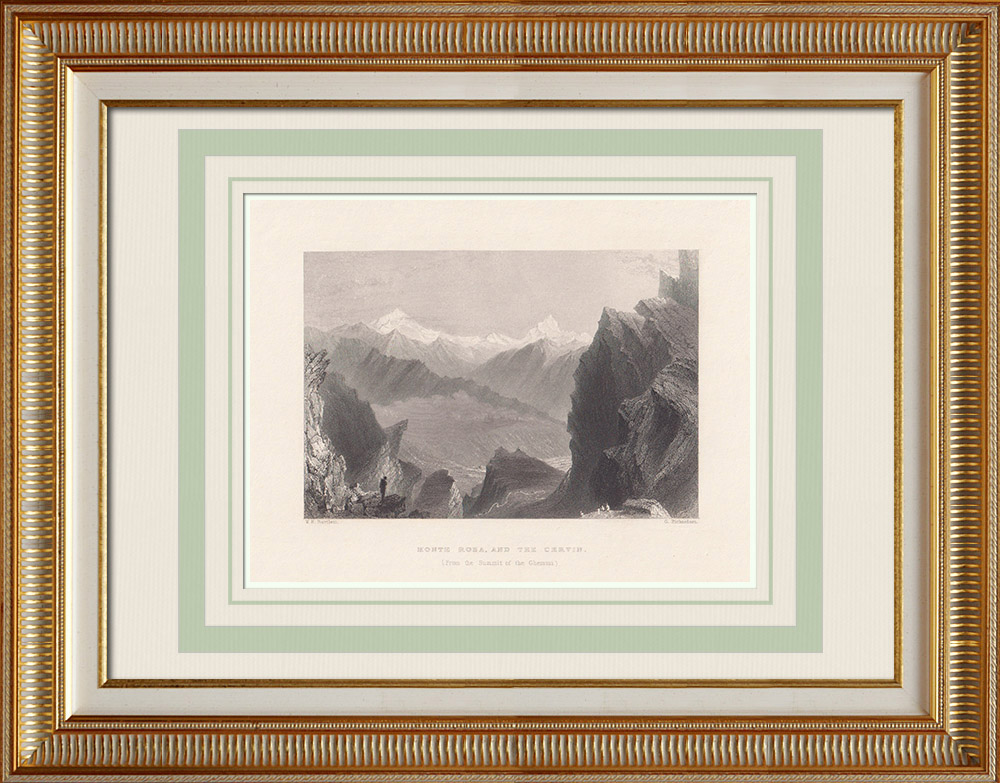 Antique Prints & Drawings | Monte Rosa - Cervino - Alps (Italy - Switzerland) | Intaglio print | 1836