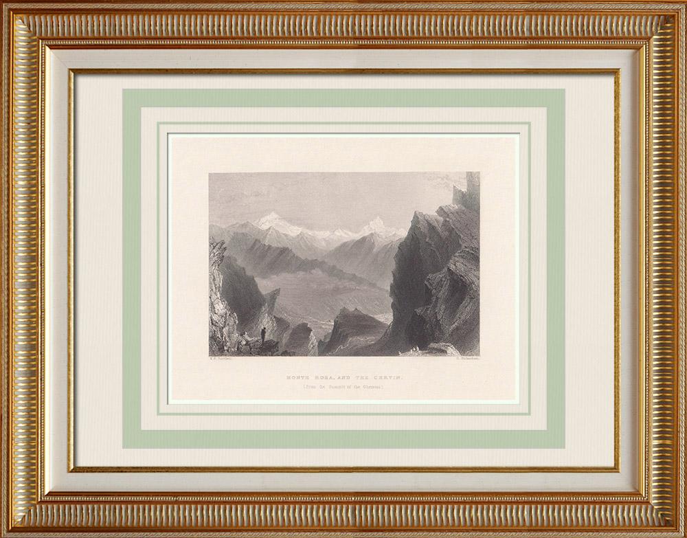 Grabados & Dibujos Antiguos | Monte Rosa - Cervino - Alpes (Italia - Suiza) | Grabado en talla dulce | 1836