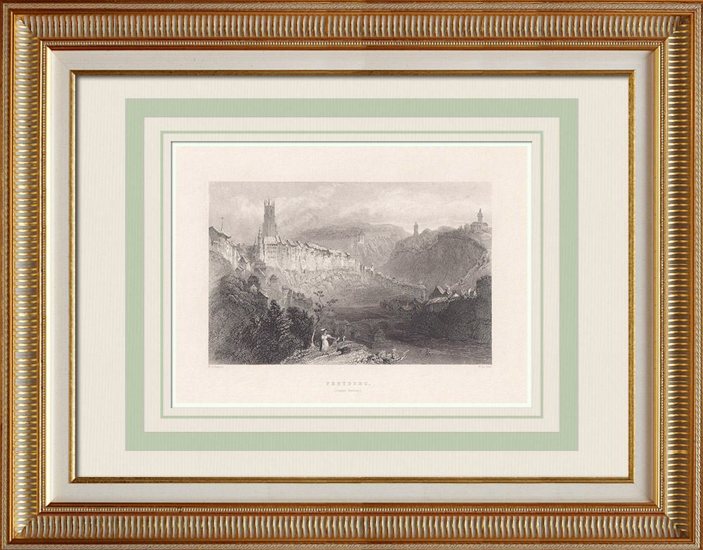 Antique Prints & Drawings | View of Fribourg - Cathedral of St. Nicolas - Canton of Fribourg (Switzerland) | Intaglio print | 1836